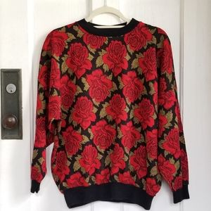 Vintage Rose Print Acrylic Sweater by Success